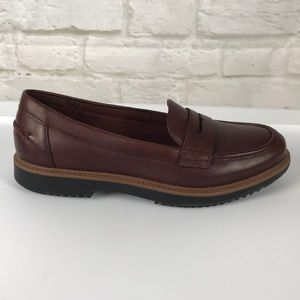 Clark's Soft Cushion Brown Leather Penny Loafers